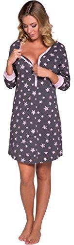 Italian Fashion IF Damen Nachthemd Comet 0111 (Rosa/Graphite, S)