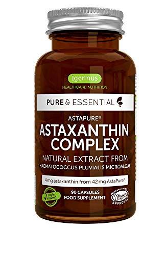 Pure & Essential Hochdosierter Astaxanthin Komplex aus 42 mg AstaPure, mit Lutein und Zeaxanthin, aus Mikroalgen, Vegan, 90 Kapseln