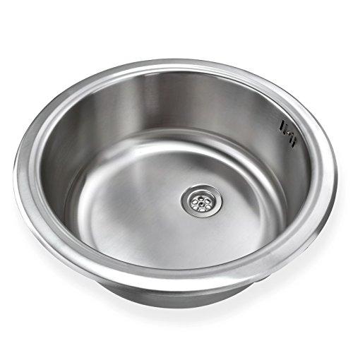 Stabilo-Sanitaer runde und kompakte Einbauspüle mit integrierten Überlauf aus hochwertigem Edelstahl, Küchen Rundbecken, Küchenspüle in schönen und modernen Design