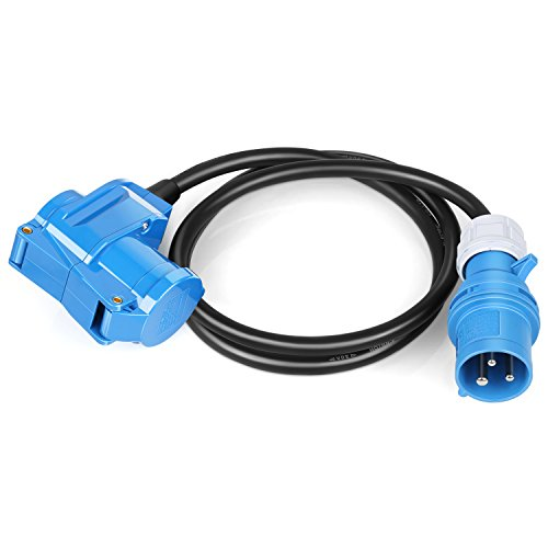 SIMBR CEE Adapterleitung IP44 mit CEE und Schuko-Kupplung 220V - 250V/16A 3-polig, 1,5 m Gummikabel Für Camping, Caravan, Boot, Märkte, Außenbereich H07RN - F 3G 2.5mm²