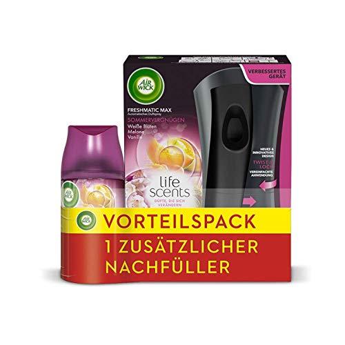 Air Wick Freshmatic Max – Vorteilspack mit Gerät und 2 Nachfüllern – Batteriebetrieben – Duft: Sommervergnügen – 2 x 250 ml Nachfüller + Gerät in schwarz