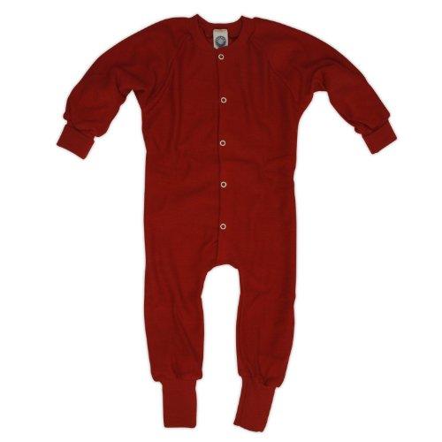 Cosilana Schlafanzug/Overall ohne Fuß, Größe 116, Farbe Rot aus 100% Schurwolle kbT