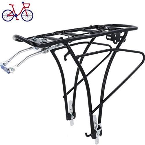SCHOBERG Fahrrad Gepäckträger HINTEN Alu verstellbar für 24, 26, 28 Herren und Damen Fahrrad Universalbefestigungsset, schwarz max. Zuladung 25kg