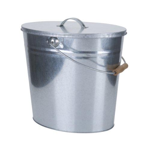 Mehrzweckeimer verzinkt als Ascheeimer mit Deckel - praktisches Kaminzubehör zum Transportieren und Abkühlen von heißer Glut und Asche - versch. Größen/Farben (24 Liter, Silber)