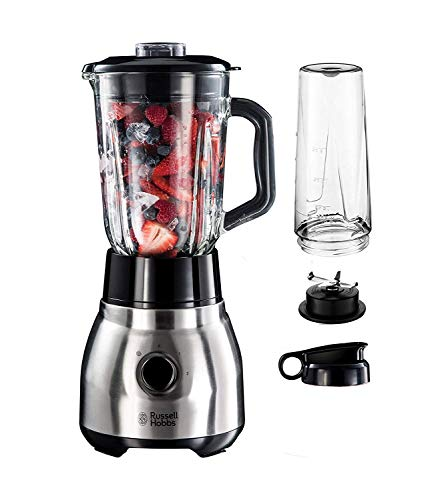 Russell Hobbs Standmixer Glas Steel 2-in-1, inkl. To-Go-Becher & Deckel, 1.5l Glasbehälter, Mixer 0.8 PS-Motor, Impuls-/Ice-Crush Funktion, mini Smoothie-Maker 23821-56