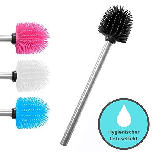 KLINOO Premium Silikon WC-Bürste schwarz mit Lotuseffekt - Bürstenkopf mit Edelstahl Griff - rostfreie Klobürste - Ersatztoilettenbürste - Ersatzklobürste