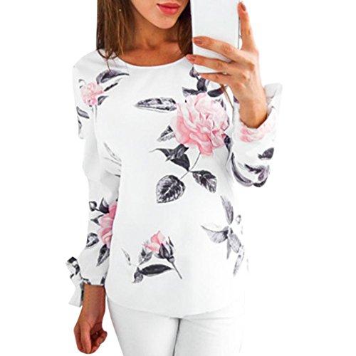 URSING Herbst Bluse Damen Langarm Shirt Pullover Super Gemütlich Floral Splice Printing Rundhals Tops Elegantes charmantes T-Shirt Oberteil mit Einzigartig Niedlich Bogen auf der Hülse (XL, Weiß)