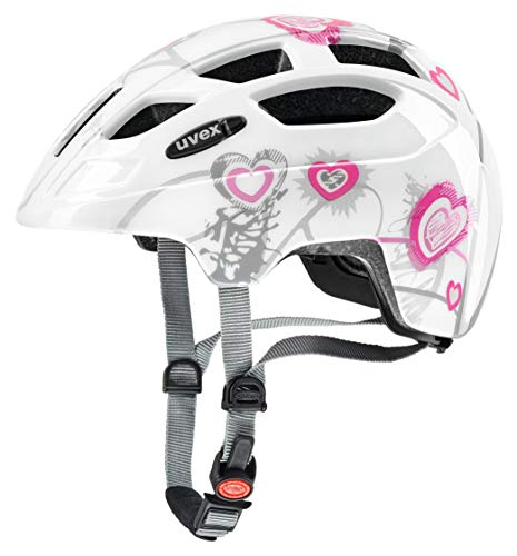 uvex Unisex Jugend, finale junior Fahrradhelm, heart white pink, 51-55 cm