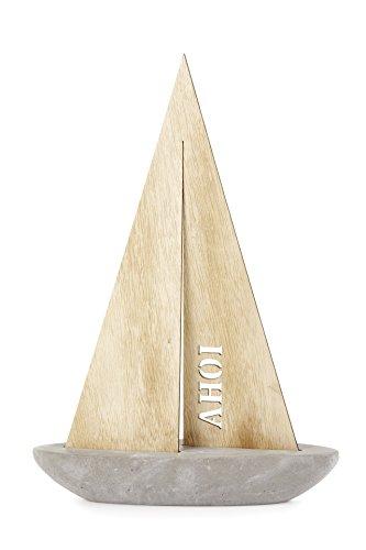 HEITMANN DECO - Segel-Schiff mit Schriftzug AHOI - Aus Stein und Holz - Deko Maritim für Wohnzimmer Badezimmer - Tischdeko