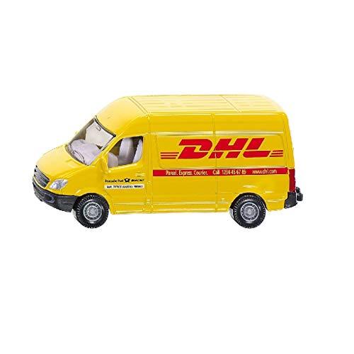 SIKU 1085, Postwagen, Metall/Kunststoff, Gelb, DHL-Optik, Bereifung aus Gummi