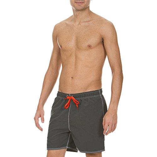 arena Herren Badeshortss Fundamentals Solid Boxer (Schnelltrocknend, Kordelzug, Weiches Material), grau (Asphalt-Red), XL