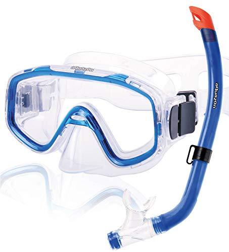 AQUAZON Fun Preisgünstiges Schnorchelset, Tauchset, Schwimmset, mit Schnorchelbrille und Schnorchel für Kinder von 3-7 Jahren, Farbe:blau transparent