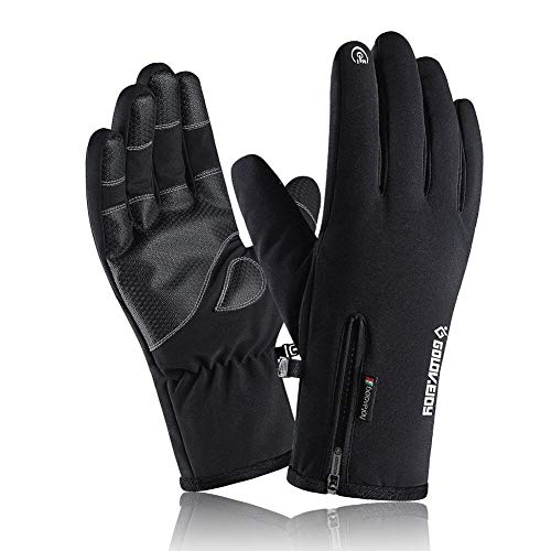 VICKSONGS Handschuhe Herren Touchscreen, Winterhandschuhe Fahrrad Motorrad Herren Wasserdicht, Skihandschuhe Damen, Fahrradhandschuhe Männer, rutschfest Handschuhe Winter Winddicht, Schwarz - M