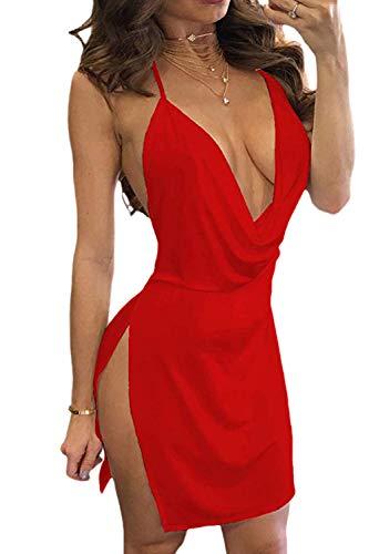 Frauen Schulterfreien Minikleid Clubwear Rückenfrei Schlitz - Party Red S