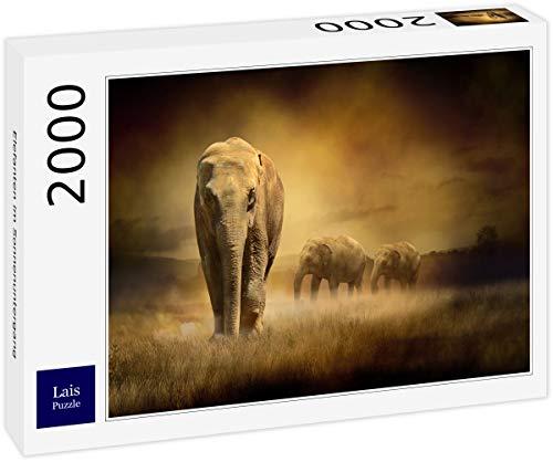 Lais Puzzle Elefanten im Sonnenuntergang 2000 Teile