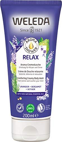 WELEDA Aroma Shower RELAX – Angenehme Naturkosmetik Cremedusche mit beruhigendem Duft zaubert einen Hauch von Gelassenheit (1 x 200ml)