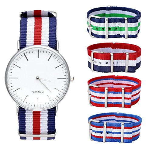 JSDDE Nylon NATO Uhrenarmband Textil Uhrenband Sport Militär Ersatzarmband mit Edelstahl Dornschließe 20mm Watch Strap (Set 1)
