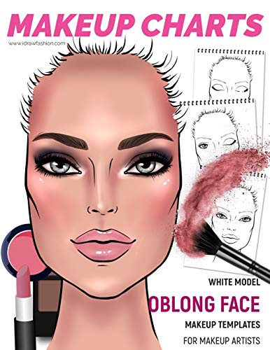 Makeup Charts - Face Charts for Makeup Artists: White Model - OBLONG face shape (Makeup Face Charts, Band 22)