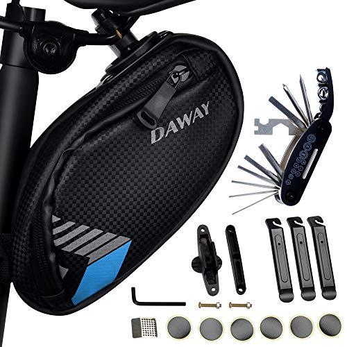 DAWAY Fahrrad Reparatur Werkzeug Set - A36 wasserdichte Fahrradsatteltasche, 16 in 1 Multitool, Leimfreie Reifenschlauchflicken, Reifenhebel Inklusive, Praktisches Fahrradsattel Werkzeugtasche