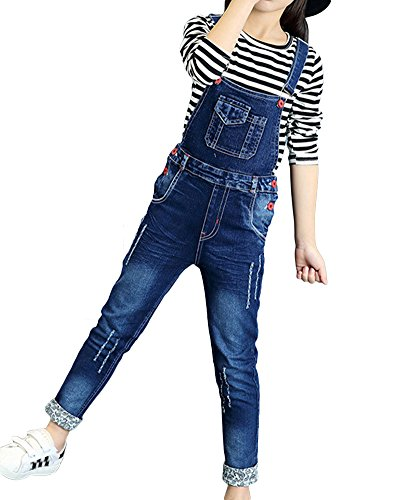 ShiFan Mädchen Kinder Latzhose Freizeit Jumpsuit Lang Overall Jeans Mit Hosenträger Wie Bild 140