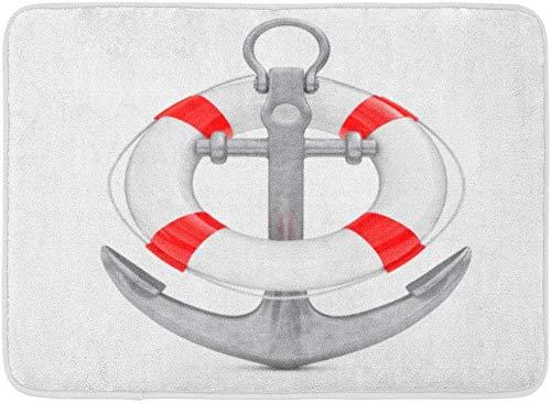 LiminiAOS Fußmatten Bad Teppiche Outdoor/Indoor Fußmatte Navy Boat Nautical Anchor Rettungsring auf 3D-Rendering Leben Maritime Preserver Badezimmer Dekor Teppich Badematte