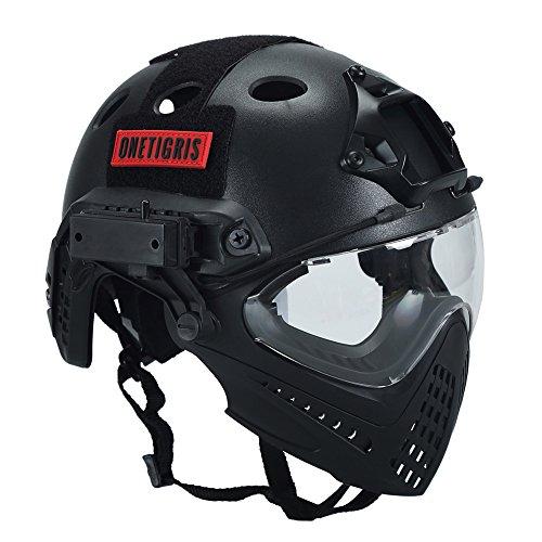 OneTigris Taktische Helm mit Maske und Schutzbrille für Softair (Schwarz)