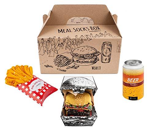 Rainbow Socks - Damen Herren Lustige Meal Socks Box Geschenk- 5 Paar - Pommes Frites Burger Bier - Größen 41-46