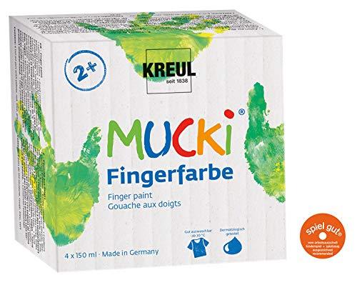 Kreul 2314 - Mucki leuchtkräftige Fingerfarbe, parabenfrei, glutenfrei, laktosefrei und vegan, auswaschbar, vermalbar mit Pinsel, Schwamm und Fingern, 4 x 150 ml in gelb, rot, blau und grün