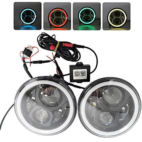 Omotor 7-Zoll-RGB Halo LED für Jeep Wrangler, LED RGB Halo Angel Eyes Scheinwerfer mit Handy APP Bluetooth-Fernbedienung für Jeep Wrangler TJ JK Hummer H1 H2 Scheinwerfer