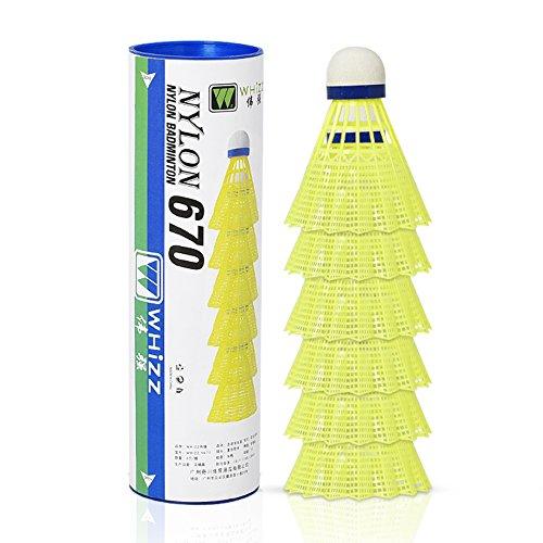 Whizz 6er-Pack Nylon Federbälle Badminton Shuttle (Gelb)