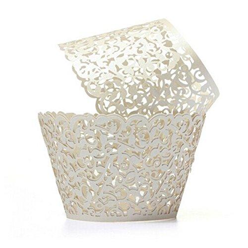 OULII Cupcake Wrappers Hochzeit Cupcake Dekoration Geburtstag Baby Baby-Dusche wickeln 50-Pack (cremeweiß)