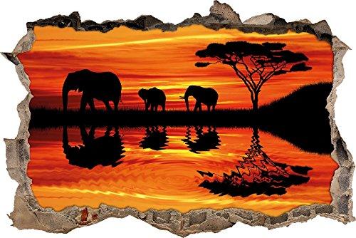 Pixxprint 3D_WD_2670_92x62 Elefanten in afrikanischer Wüste bei Sonnenuntergang Wanddurchbruch 3D Wandtattoo, Vinyl, bunt, 92 x 62 x 0,02 cm