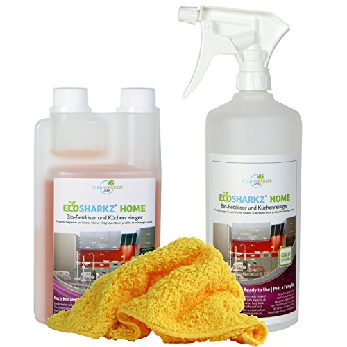 Hochglanz-Küche Reinigungsset - Fettlöser Spray - Bio-Kraftreiniger - Spezial-Reinigungstuch für jede Hochglanzoberfläche (Konzentrat ergibt 25 Liter Küchen-Reiniger)