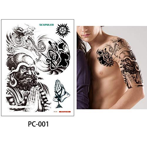 adgkitb 2pcs Schulter halben Arm Tattoo Scapuler Aufkleber Dragon Lotus Tattoo temporäre Kunst PC-001 32x24cm