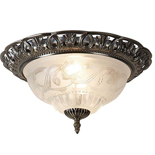 Landhaus Stil Decken Beleuchtung Lampe Glas Leuchte Messing antik Blumen Dekor Searchlight 7045-13