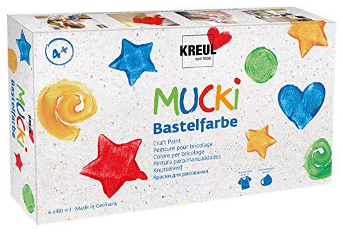 Kreul 24160 - Mucki Bastelfarbe, Kindermalfarbe auf Wasserbasis, parabenfrei, glutenfrei, laktosefrei, vegan, auswaschbar, mit Pinsel vermalbar, 6 x 80 ml in weiß, gelb, rot, blau, grün und schwarz