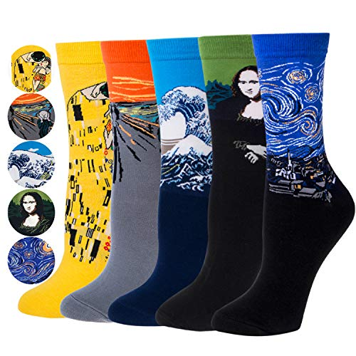 Justay 4/5 Paar Herren Socken, Bunt Gemusterte Berühmte Gemälde, Mode Trend Crew Socken Herren, Baumwolle EU 39-45, Geschenk für Männer MEHRWEG (01-gelb, Orange, Blau, Grün, Dunkelblau)
