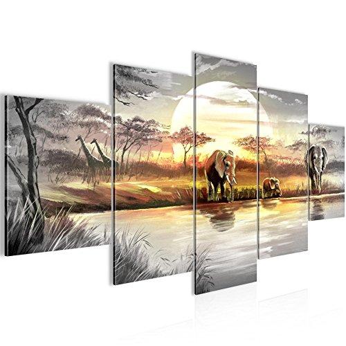 Bilder Afrika Elefant Wandbild 200 x 100 cm Vlies - Leinwand Bild XXL Format Wandbilder Wohnzimmer Wohnung Deko Kunstdrucke Gelb Grau 5 Teilig - MADE IN GERMANY - Fertig zum Aufhängen 000751a