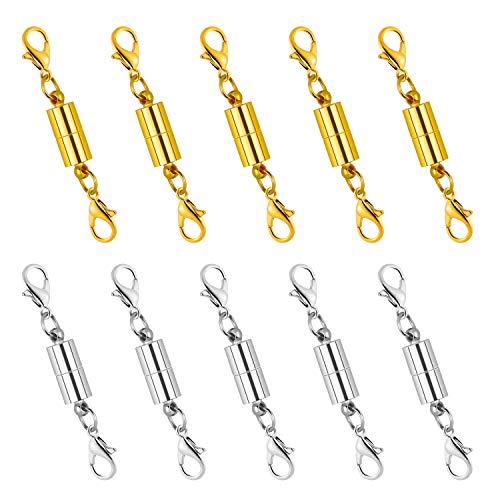 Dreamtop 10 x magnetischer Karabinerverschluss Magnetverschluss Verlängerung für Schmuck Halskette Armband (Gold und Silber)