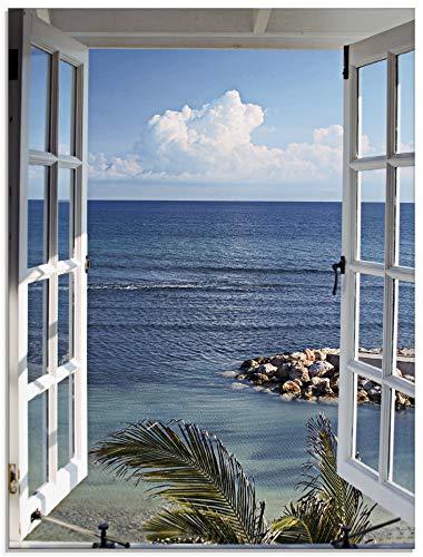 Artland Glasbilder Wandbild Glas Bild einteilig 60x80 cm Hochformat Strand Meer Küste Palmen Ausblick Natur Fensterblick Maritim Blau T9II