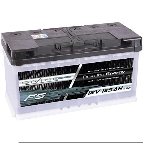Divine 12V 125Ah Solarbatterie Mover Versorgungsbatterie Wohnmobil Boot Marine Camping Batterie Wartungsfrei
