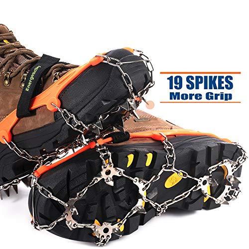Ice Klampen Steigeisen mit 19 Zähne,Wahre Edelstahl Spikes und langlebiges Silikon,Schuhkrallen Anti Rutsch Schuhspikes für Winter Walking Wandern Bergsteigen. (Orange, XL)