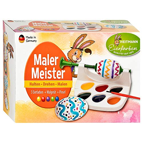 Heitmann Eierfarben Malermeister - Malgerät, Ostereier-Malmaschine mit Pinsel - 5 flüssige Eierfarben - azofrei - Ostereier bemalen