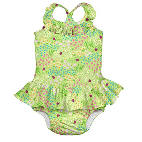 I-Play Baby-Mädchen One-Piece Ruffle Swimsuit with Built-in Reusable Swim Diaper Badeanzug, Green Flower Patch, 12 Monate