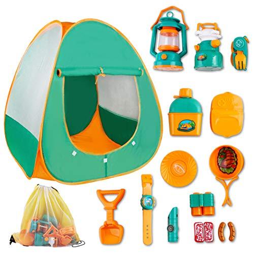 deAO Pretend Play Camp Set Überlebensausrüstung mit großem Zelt Camping Spielzeugwerkzeuge Outdoor-Spielzeug für Kinder der Wildnis erkunden