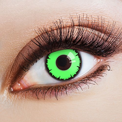 aricona Kontaktlinsen Farblinsen - Grüne Kontaktlinsen - Kontaktlinsen farbig ohne Stärke für Halloween, Karneval, Fasching, Cosplay, 2 Stück