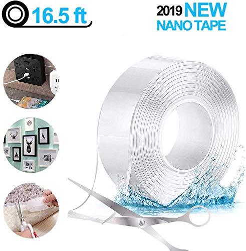 Doppelseitiges Klebeband, Waschbares Spurloses Klebeband - 5M, Nakeey Multifunktionales Transparent Nano Magic Tape, Wiederverwendbares Nano Entfernbares Klebeband für Wände, Küche, Teppich