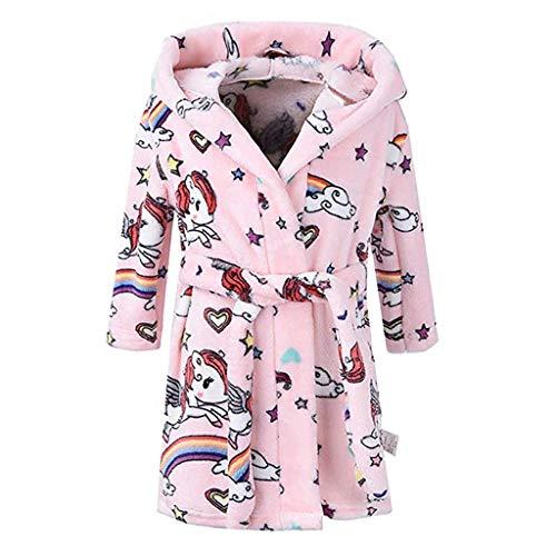 MRULIC Jungen und Mädchen Warme Winter Nachtwäsche für Kinder Lose Flanell Bademantel Kapuzenpullover Handtuch Pyjamas Nachtkleid mit Gürtel(Rosa,7-8 Jahre)