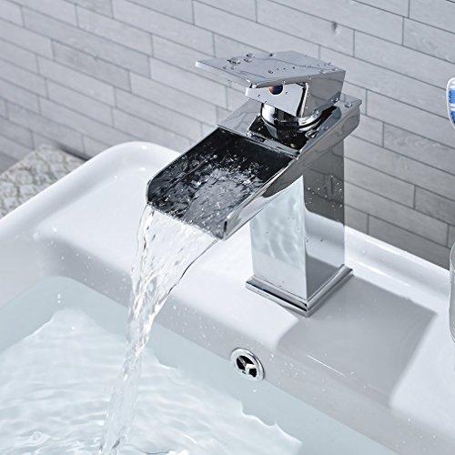 Cozime Wasserfall Wasserhahn, Chrom Wasserhahn Badezimmer Waschbecken Wasserfall, Square, Kein Rost Bassing