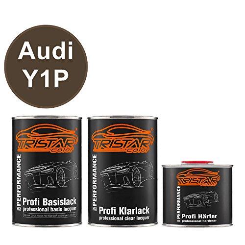 TRISTARcolor Autolack Set Dose spritzfertig für Audi Y1P Dakotagrau Metallic Basislack + 2K Klarlack 2,5L